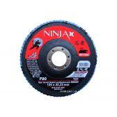 Круг пелюстковий шліфувальний NINJA Zirconium TM VIROK Т27 125х22 мм Р80 Al Inox Steel